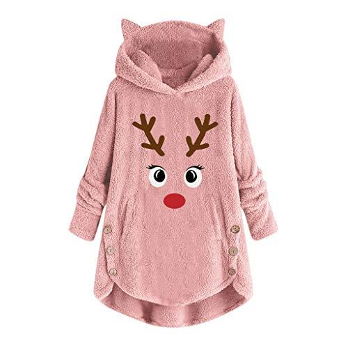 Darringls Abrigos para Mujeres Navidad Invierno Manga Larga Impresión de Ciervos navideños Gruesa...