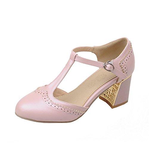 UH Damen High Heels T spangen ankle strap Pumps mit Schnallen und Blockabsatz süße Schuhe