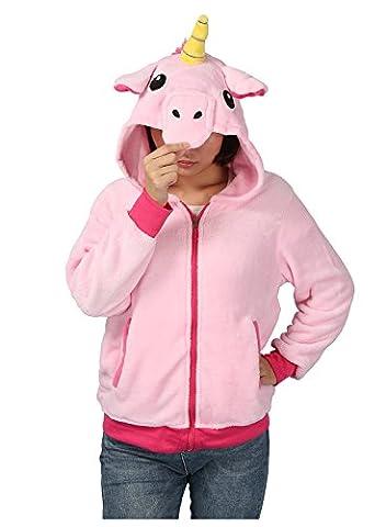 Unisex Pyjama Tier Cosplay Sweatshirt Halloween Kostüm Hoodies Einhorn Seitentaschen Reißverschluss Mit Kapuze (L, (Rosa Einhorn-kostüm)