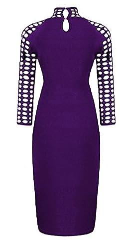 SunIfSnow - Robe spécial grossesse - Moulante - Uni - Manches 3/4 - Femme - violet - Small