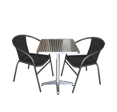 3tlg. Gartengarnitur Balkonmöbel Terrassenmöbel Set Sitzgruppe Poly-Rattan Stapelstuhl Aluminium Bistrotisch 60x60cm von Multistore 2002