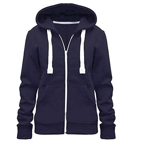 New Plus Size Hoodie Zip Zipper Hooded Jacket Coat Top Hoody Navy 3XL