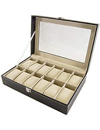Science Purchase Caja de Reloj Grande 12 para Hombre Piel de Color Negro  Cristal de Pantalla 5bf3c186bef1