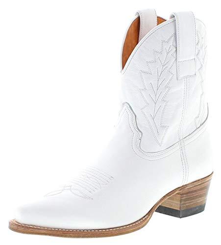 Sendra Boots Damen Cowboy Stiefel 16367 Lederstiefel Westernstiefelette Weiss 40 EU -