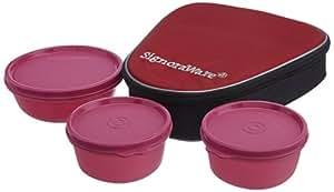 Signoraware Sleek Polypropylene Lunch Box Set with Bag, 3-Pieces, Pink