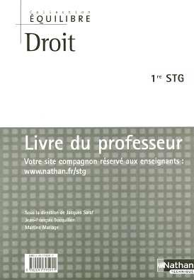 Droit 1e STG : Livre du professeur
