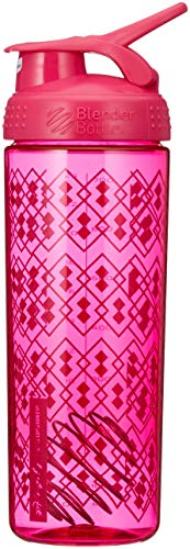 BlenderBottle Signature Sleek Shaker, Eiweiß Shaker , Wasserflasche , Protein Shaker mit Blenderball - Pink Geo Lace (820ml) - 5 Eiweiß