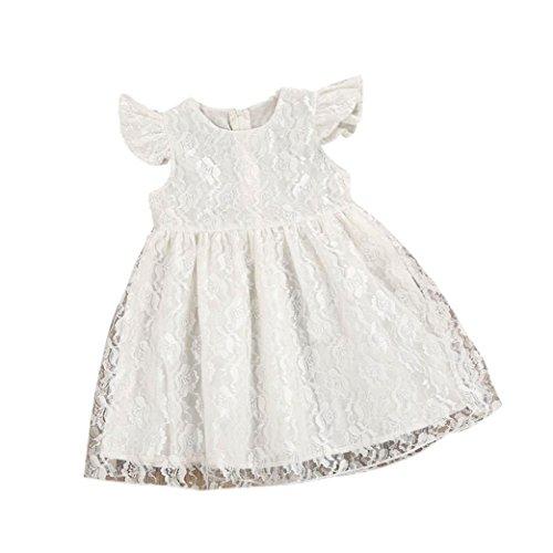 ggong Kleinkind Kinder Baby Mädchen Blume Rüschen Prinzessin Party Pageant Kleid Kleidung Schneewittchen Kleid Reizvolle Dornröschen Grünes Fee Kostüm (110, Weiß) (Kinder Dornröschen Kostüme)