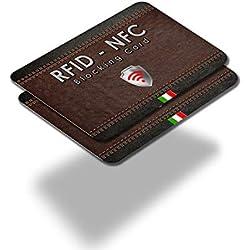 2 Pack RFID & NFC Carte Anti Protection Carte Bancaire sans Contact, 1 Suffit, Les Étuis Pochettes, Le Portefeuille Est Entièrement Protégé, Carte De Crédit, Cartes Bleues, CB, Passeport. Bloquage