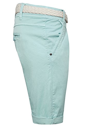 Fresh Made Einfarbige Damen Bermuda-Shorts mit Flecht-Gürtel | Elegante kurze Hose im Chino-Style light turqoise