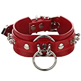 Soclear Handmade Double Leather Straps O Ring Necklace Collar -Red Big-45cm 17.5 inches