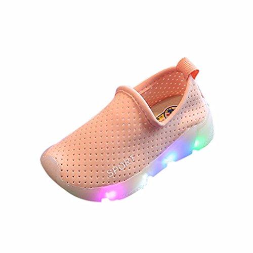 SOMESUN Kids LED Sport Running Shoes Sneakers, Unisex Scarpe Bambini Solid Capretti Delle Ragazze Dei Ragazzi Led Light Up Luminoso Sneakers Pink