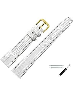 MARBURGER Uhrenarmband 18mm Leder Weiss - Rindsleder, Eidechse Prägung - Inkl. Zubehör - Ersatzarmband, Schließe...