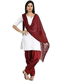 Funfabrics Cotton Full Free Size Maroon Plain Patiala Salwar Dupatta Set Cotton Patiala Dupatta