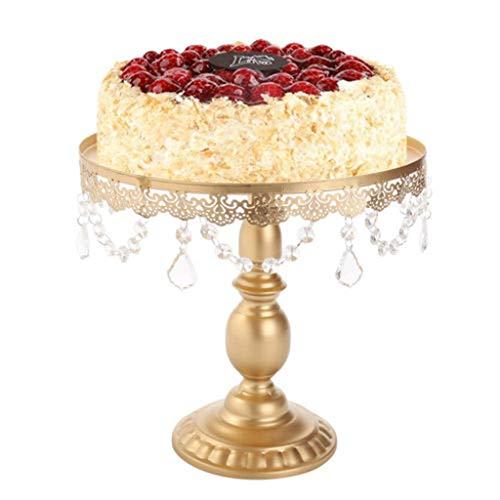 Tortenplatte Tortenständer, Round Metal Cake Stand Kuchenständer Kuchen Cake Decorating Turntable für Backen Gebäck mit Crystals für Nachmittagstee Babydusche Hochzeit Geburtstag Party Hochzeiten - Stand Crystal