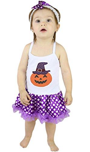 Petitebelle strega di Halloween zucca Halter collo pois viola Body Tutu nb-24m Purple 0-6  Mesi