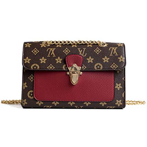 2019 mode flut weiblichen beutel druck kleine quadratische tasche damen plug lock handtasche kette umhängetasche (Weinrot, 26 * 10 * 16cm)