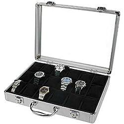 Alu Uhrenkoffer 18 Uhren Uhrenbox Schaukasten Uhrenkasten Schwarz 5166