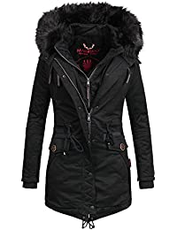 f9e709929c23 Marikoo Damen Winter Jacke Mantel Winterjacke warm gefüttert Wintermantel  Parka Baumwoll Double Zipper Rose50 XS-