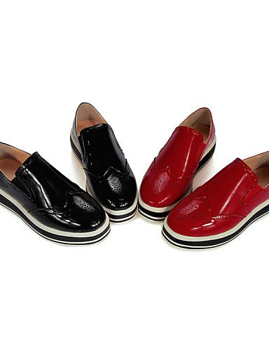 ZQ hug Scarpe Donna-Mocassini-Tempo libero / Casual-Plateau / Punta arrotondata-Piatto-Vernice-Nero / Rosso , red-us8 / eu39 / uk6 / cn39 , red-us8 / eu39 / uk6 / cn39 red-us5 / eu35 / uk3 / cn34
