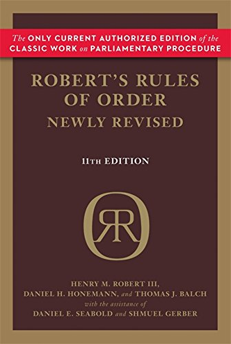 Robert's Rules of Order Newly Revised, 11th edition (Robert's Rules of Order (Paperback)) por Daniel Honemann