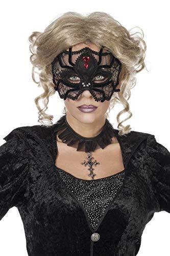 Jannes 24390 Halloween-Maske Spinne Deluxe mit Spitze Edelstein Rubin Spider Spinnennetz Hexe Witch Grusel Horror Scary HochwertigEinheitsgröße - Spider Witch Für Erwachsene Kostüm Damen