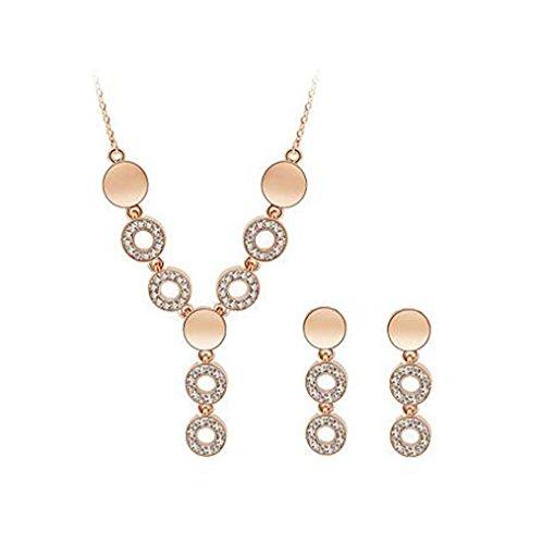 HFJ&YIE&H Schmuck Set elegante Crysta Kreis Anhänger Halskette Ohrring Geschenk , golden