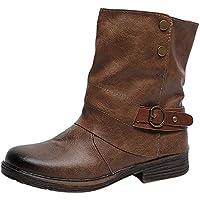 Fuibo Damen Stiefel, Vintage Frauen Runde Kappe Leder Booties Reißverschluss Martin Stiefel Platz Heel Schuhe   Stiefeletten Ankle Boots Schlupfstiefel Chelsea Boots