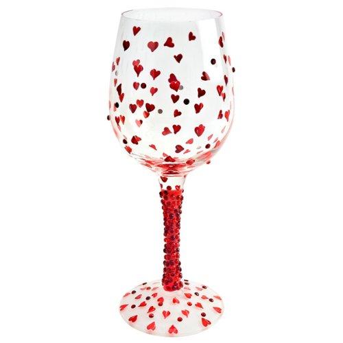 Lolita rojo vino caliente de 15,5 oz/440 ml | 44 cl de vino de cristal pintado a mano, corazones de vino de cristal, vino de cristal uglymug - caja de regalo width=