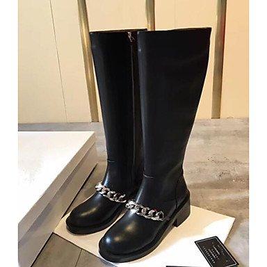 Rtry Chaussures Femme Peau De Vache Printemps Confort Automne Bottes De Mode Bottes Pour Casual Noir Noir Us8.5 / Eu39 / Uk6.5 / Cn40 Us6 / Eu36 / Uk4 / Cn36