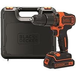 BLACK+DECKER BDCHD18K-QW Perceuse à percussion sans fil - 18 V - 1,5 Ah - 2 vitesses - 1 batterie - Chargeur inclus - Livrée en coffret