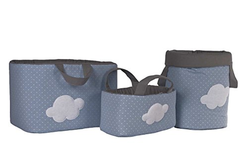 Funny Baby 623212 - Juguetero acolchado 30 x 45 x 27 cm, diseño motas y nube, color azul