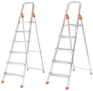Bathla Advance 5-Step Foldable Aluminum Ladder with Sure-Hinge Technology (Orange) & Bathla Advance 6-Step Foldable Aluminum Ladder with Sure-Hinge Technology (Orange)