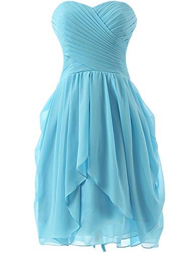 HUINI Abendkleider Schulterfrei Kurz A-Linie Chiffon Brautjungfernkleider Ballkleider Hochzeitskleider Partykleider Abschlussball Kleider Sky Blue 38 - Sky Blue Chiffon