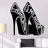 Lvabc Vinyl Wandtattoo Mode Zitat Mode Ist Meine Leidenschaft Wandaufkleber Abnehmbare Kreative Mädchen Schuhe Aufkleber Mode Dekor 42X42 Cm