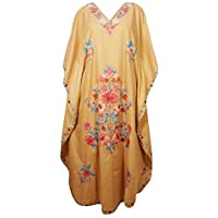 Mogul Interior Women Caftan Maxi Dress Cotton Embroidered Lounger Gold Kaftan One Size