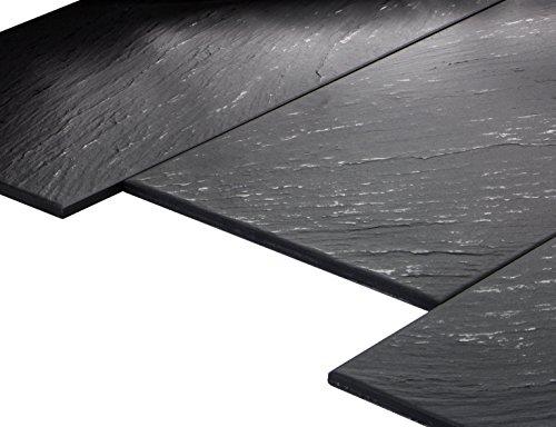 'Geo Black teilpoliert' Bodenfliesen 30x60 cm, Feinsteinzeug Fliesen Schieferoptik (1 m²)