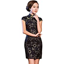 Baymate Mujeres Chino Tradicional Vestido Manga Corta Elegante Encaje Vestidos de cóctel con Aberturas Laterales