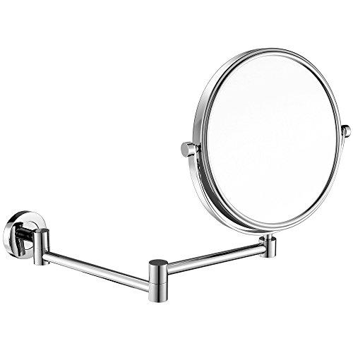 GuRun Kosmetikspiegel wandmontage,10 Fach+Normal Kosmetikspiegel 8-inch Schminkspiegel zweiseitiger Wandspiegel M1305 (8 inch*10, Chrome)