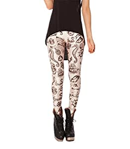 Women's Sexy Galaxy fitness Pants Digital Printing slim Nautical Brown Leggings