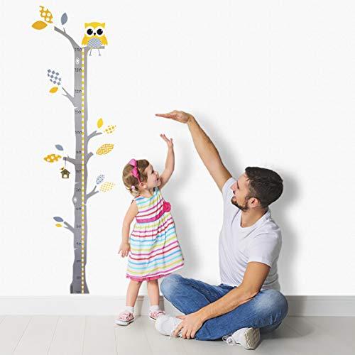 Brunoko Kinder Höhentabell – messlatte kinder, Wandsticker, Wandaufkleber, Wanddeko für Wohnzimmer, Schlafzimmer, Kinderzimmer - wandtattoo eule kinderzimmer - messlatte für die wand