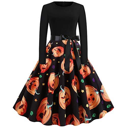 Halloween Kürbis Drucken Retro Kleid,Schwingen Kleid Damen 1950er Vintage Cocktailkleid Rockabilly,Faltenrock Kostüm,Party-Swing Kleid (Ideen Für Selbstgemachte Hippie Kostüm)