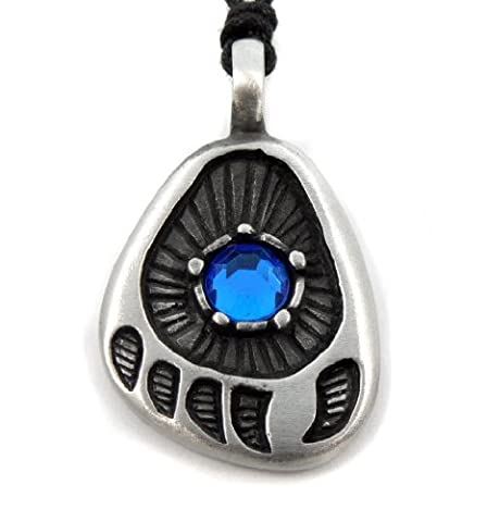 Mystical & Magical Pewter BLUE - Native American Red Indian Bear Paw Print Strength Power Pendant - Supplied on Adjustable black rope