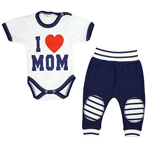 TupTam Unisex Baby Bekleidung mit Spruch 2er Set , Farbe: I Love Mom Dunkelblau, Größe: 92