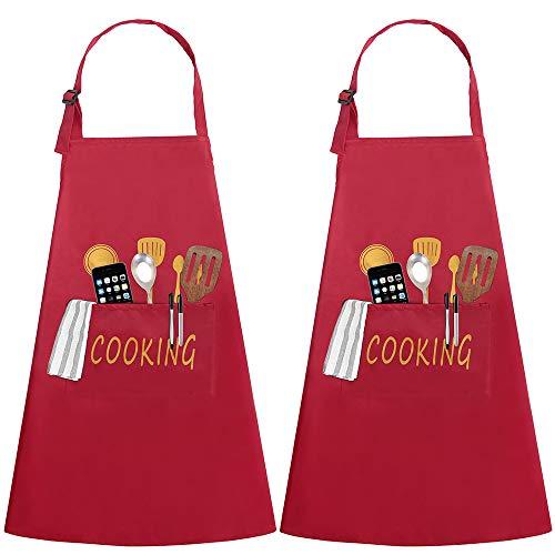Delantales Cocina 2 Piezas Bolsillo Delantal Impermeables