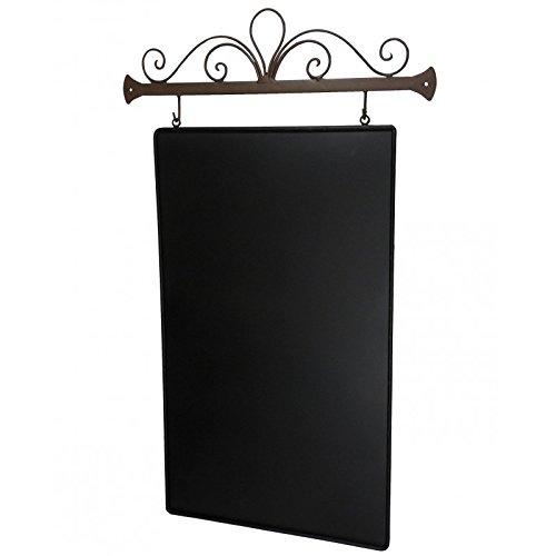 L'Héritier Du Temps Mémo Pense-Bête ou Liste de Courses en Ardoise à Craie Murale Tableau Noir en Fer Patiné Marron 45x76cm
