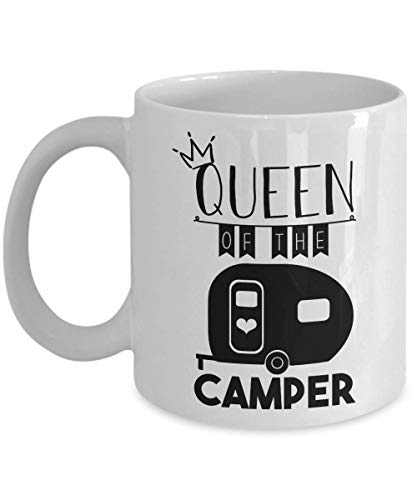 jingqi Queen of The Camper Mug, 11 oz Ceramic White Coffee Mugs, Camping Lovers Gifts for Men, Happy Camper Novelty Cup for Women, Wedding Anniversary Present for Nature Lovers - Becher Camper Happy