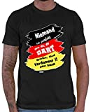 HARIZ  Herren T-Shirt Niemand ist Perfekt Dartspieler Dart Sprüche Dartscheibe Sport Fun Trikot Inkl. Geschenk Karte Schwarz XXL