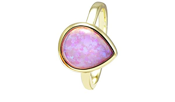 Created Opal 18k Gold Clad Wholesale Gemstone Pear Cut Ring