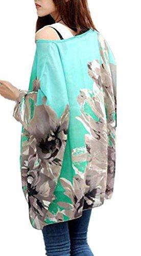 T-shirt Hippie - BienBien Chemisier Femme Manche 3 4 Imprime Tunique Boheme Chic Grande Taille Chiffon B6